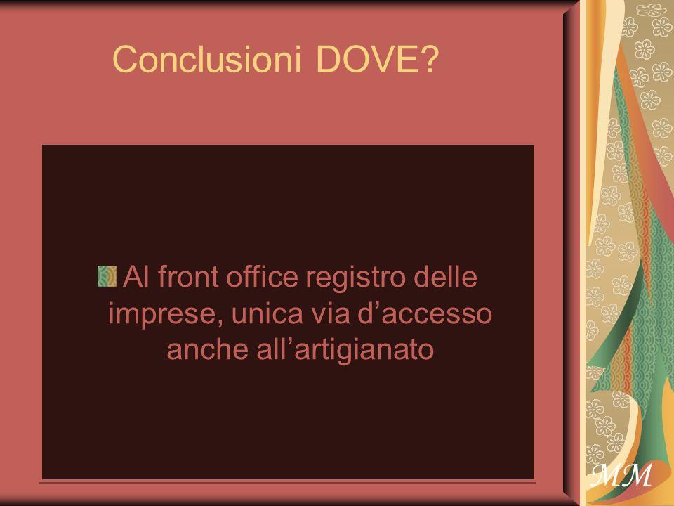 Conclusioni DOVE Al front office registro delle imprese, unica via daccesso anche allartigianato