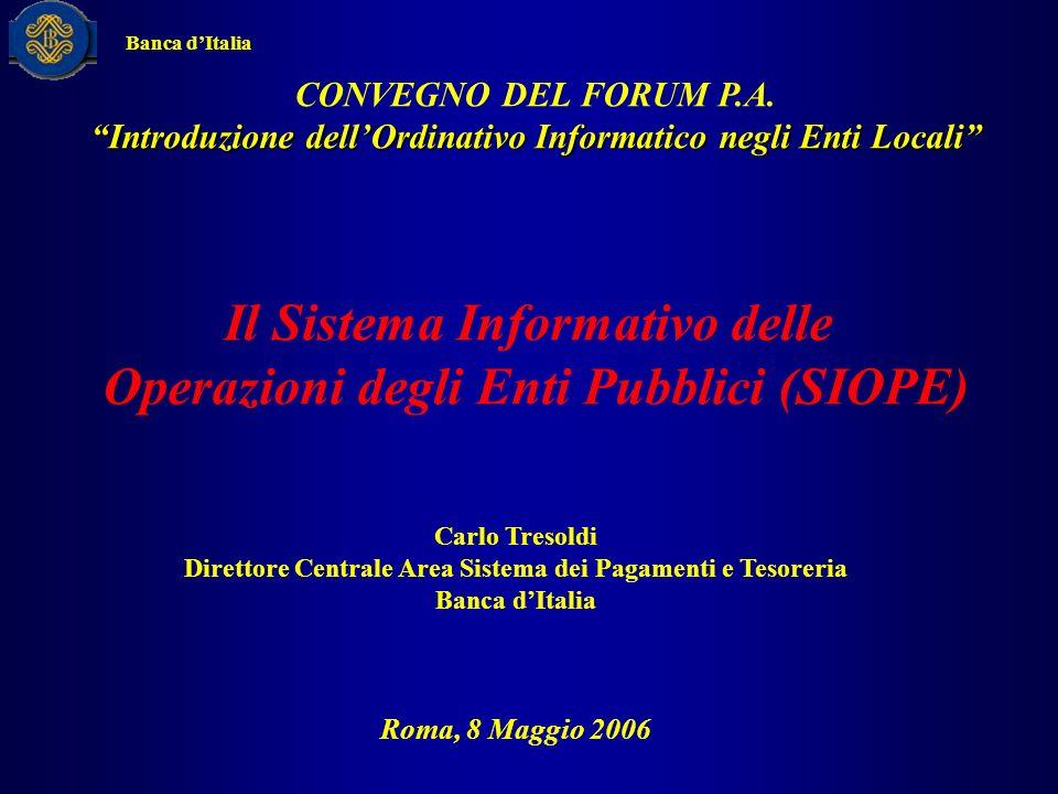 CONVEGNO DEL FORUM P.A. Introduzione dellOrdinativo Informatico negli Enti Locali Il Sistema Informativo delle Operazioni degli Enti Pubblici (SIOPE)