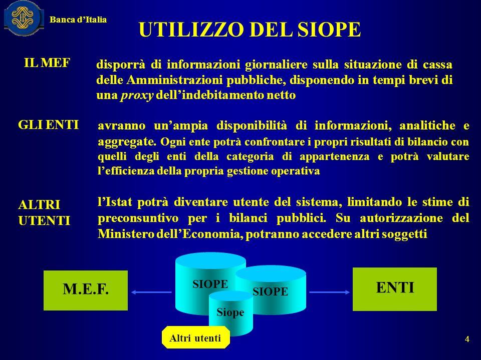 UTILIZZO DEL SIOPE disporrà di informazioni giornaliere sulla situazione di cassa delle Amministrazioni pubbliche, disponendo in tempi brevi di una pr