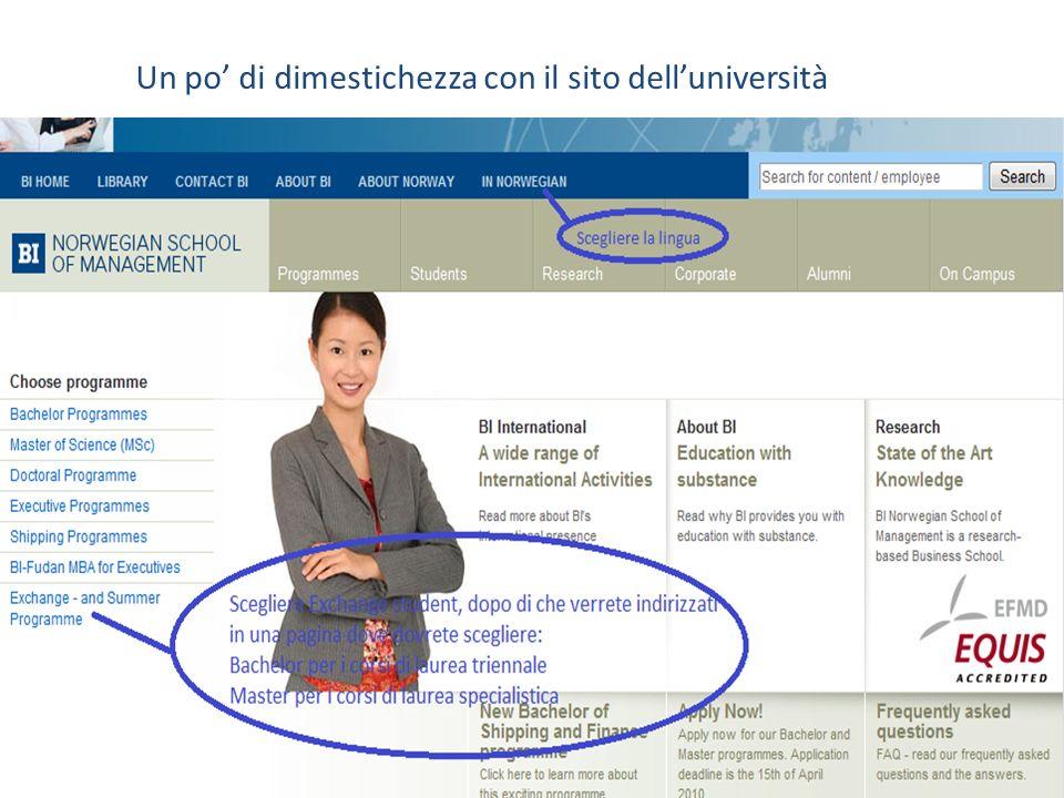 Un po di dimestichezza con il sito delluniversità