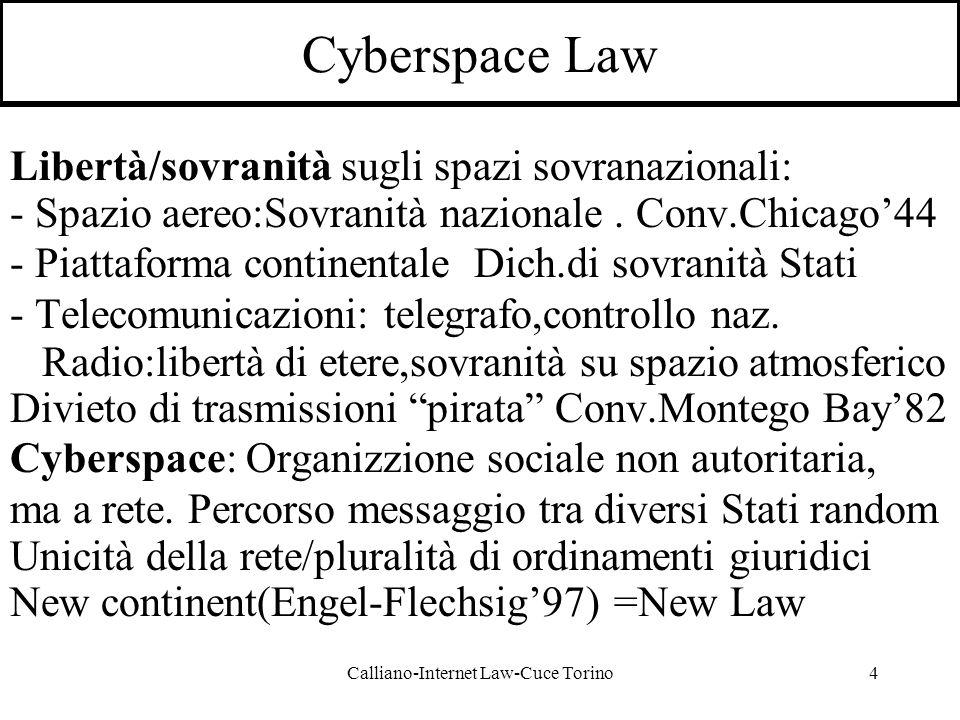 Calliano-Internet Law-Cuce Torino4 Cyberspace Law Libertà/sovranità sugli spazi sovranazionali: - Spazio aereo:Sovranità nazionale.
