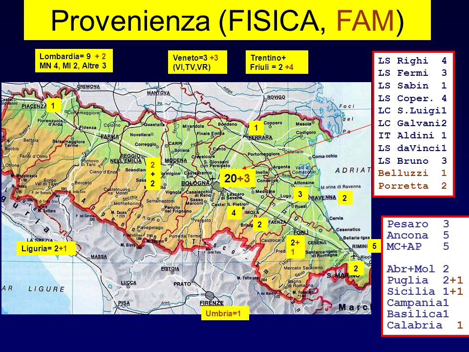 Provenienza (FISICA, FAM) 20+3 4 2 Lombardia= 9 + 2 MN 4, MI 2, Altre 3 5 1 2+12+1 LS Righi 4 LS Fermi 3 LS Sabin 1 LS Coper. 4 LC S.Luigi1 LC Galvani