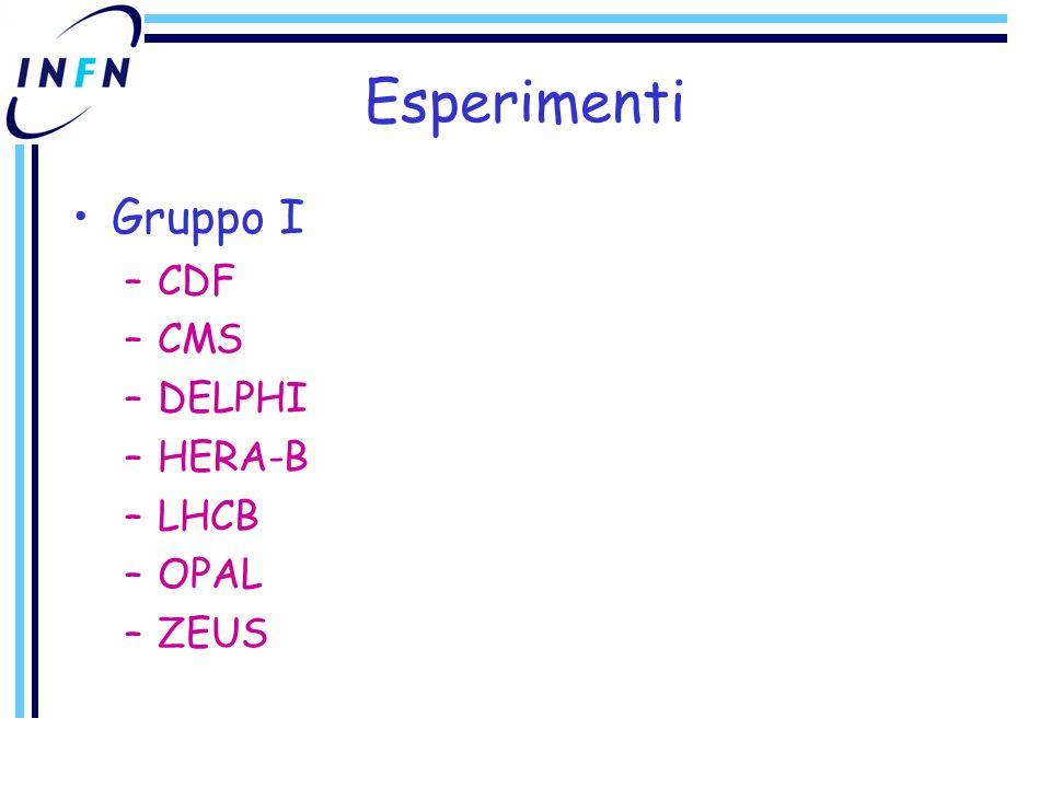 Esperimenti Gruppo I –CDF –CMS –DELPHI –HERA-B –LHCB –OPAL –ZEUS