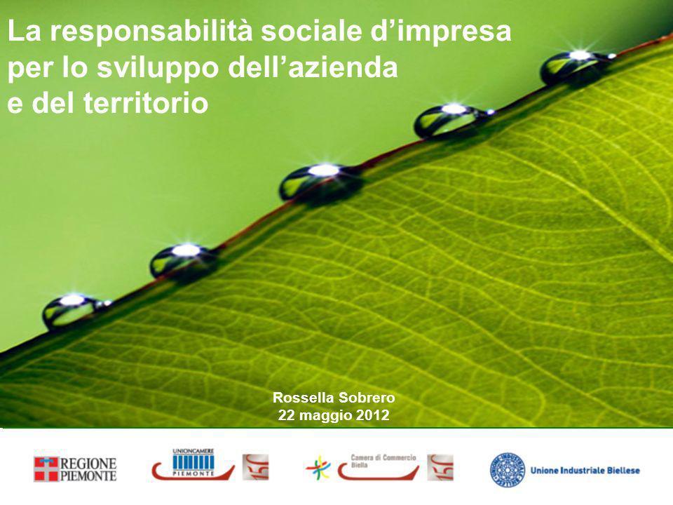 La responsabilità sociale dimpresa per lo sviluppo dellazienda e del territorio Rossella Sobrero 22 maggio 2012