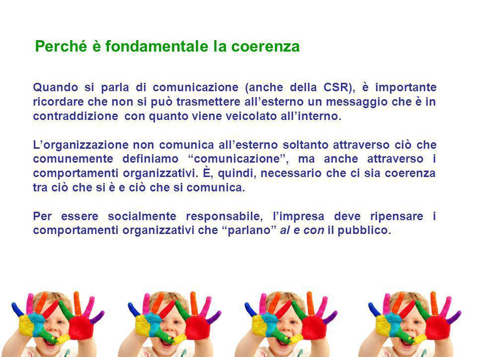 Quando si parla di comunicazione (anche della CSR), è importante ricordare che non si può trasmettere allesterno un messaggio che è in contraddizione con quanto viene veicolato allinterno.
