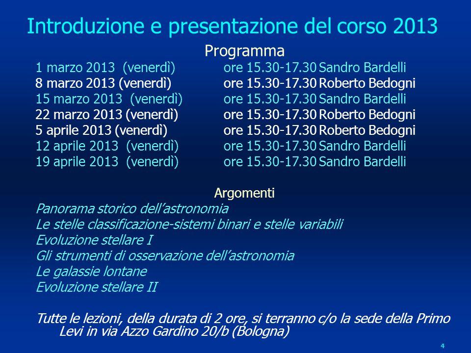 4 Introduzione e presentazione del corso 2013 Programma 1 marzo 2013 (venerdì) ore 15.30-17.30 Sandro Bardelli 8 marzo 2013 (venerdì) ore 15.30-17.30