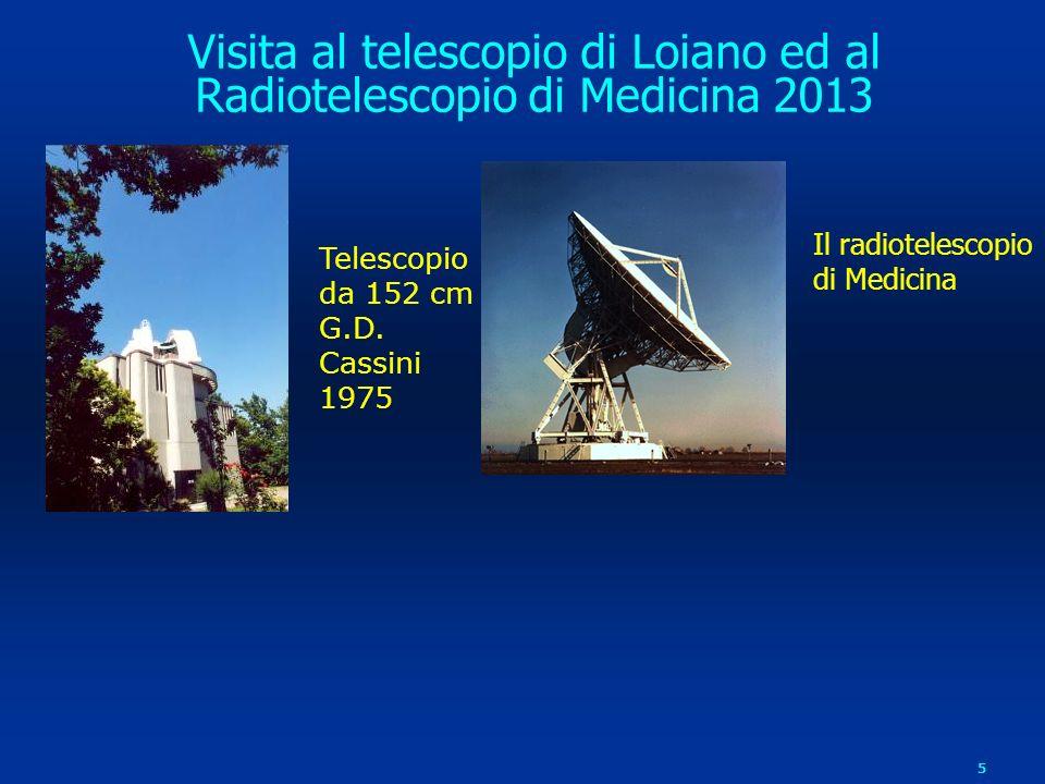 5 Telescopio da 152 cm G.D. Cassini 1975 Il radiotelescopio di Medicina Visita al telescopio di Loiano ed al Radiotelescopio di Medicina 2013