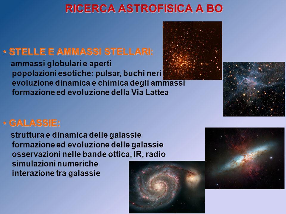 RICERCA ASTROFISICA A BO STELLE E AMMASSI STELLARI: STELLE E AMMASSI STELLARI: ammassi globulari e aperti popolazioni esotiche: pulsar, buchi neri evo