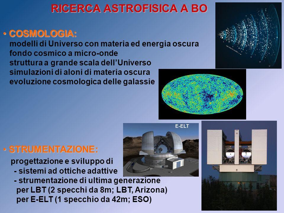 COSMOLOGIA: COSMOLOGIA: modelli di Universo con materia ed energia oscura fondo cosmico a micro-onde struttura a grande scala dellUniverso simulazioni