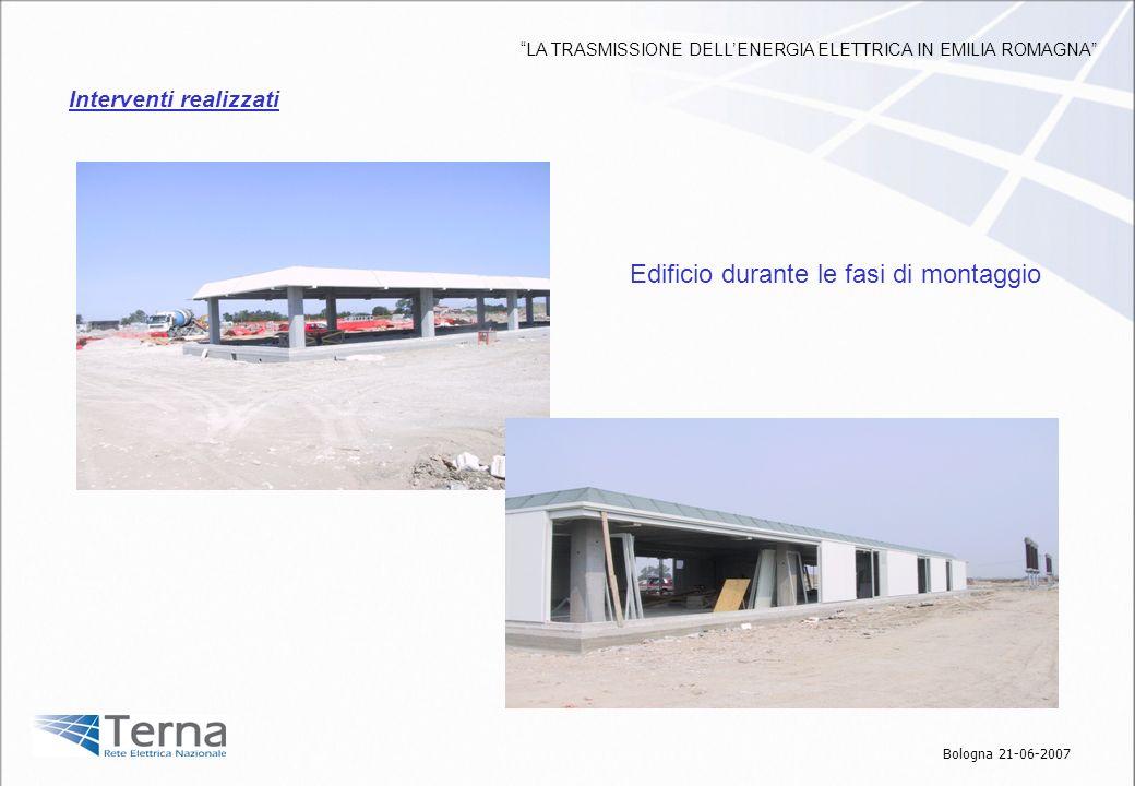 Edificio durante le fasi di montaggio Interventi realizzati Bologna 21-06-2007 LA TRASMISSIONE DELLENERGIA ELETTRICA IN EMILIA ROMAGNA