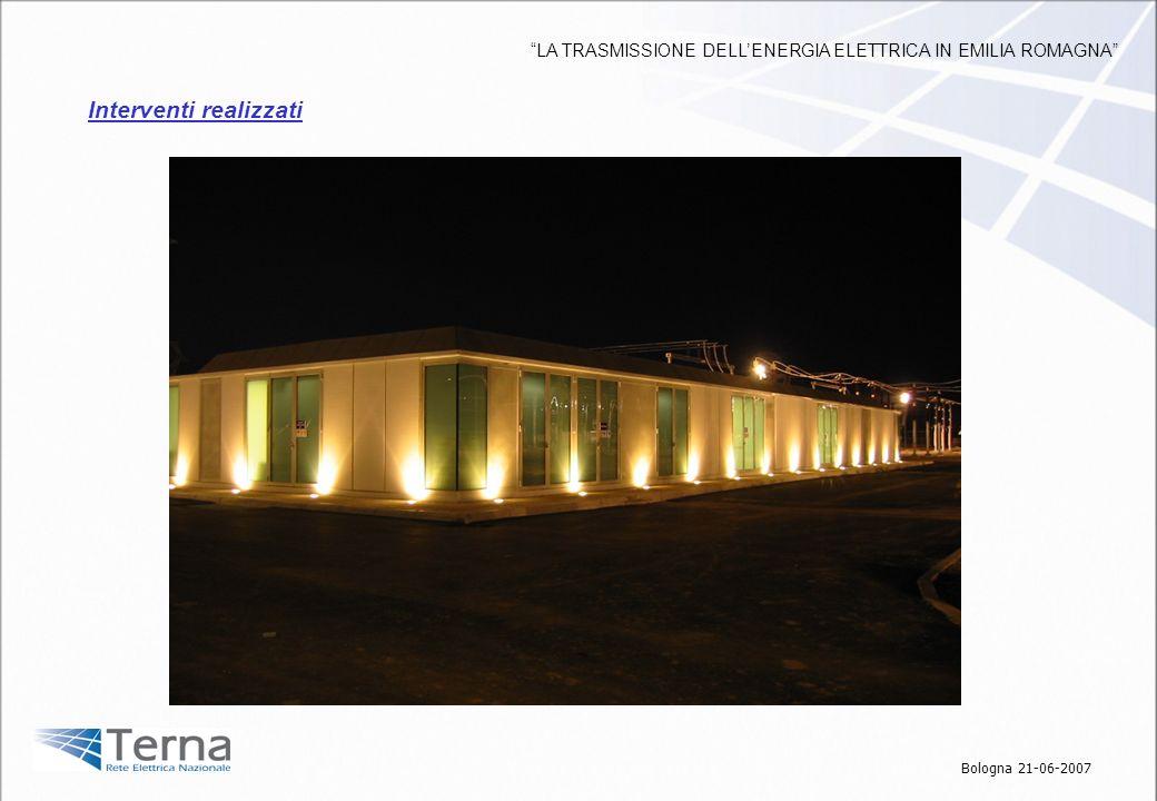 Interventi realizzati Bologna 21-06-2007 LA TRASMISSIONE DELLENERGIA ELETTRICA IN EMILIA ROMAGNA
