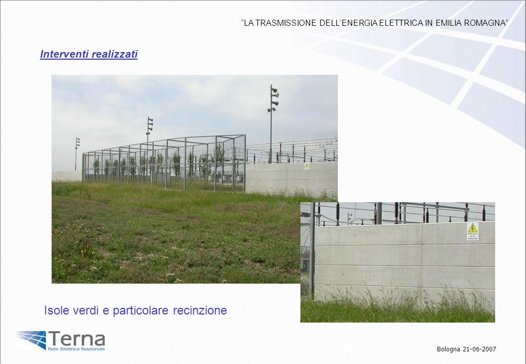 Isole verdi e particolare recinzione Interventi realizzati Bologna 21-06-2007 LA TRASMISSIONE DELLENERGIA ELETTRICA IN EMILIA ROMAGNA