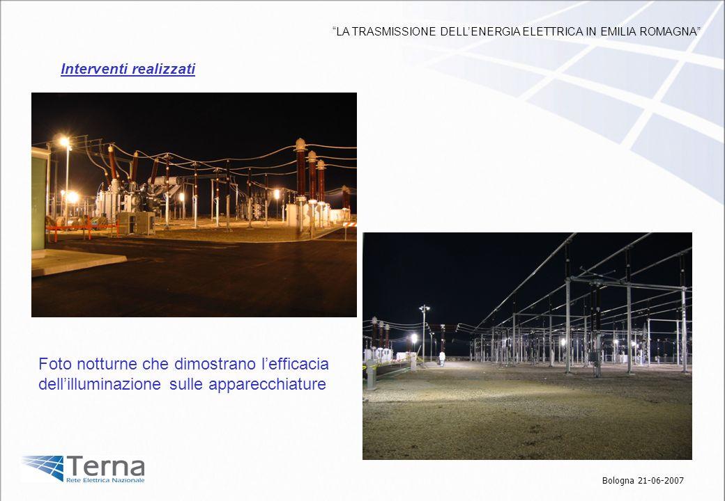 Foto notturne che dimostrano lefficacia dellilluminazione sulle apparecchiature Interventi realizzati Bologna 21-06-2007 LA TRASMISSIONE DELLENERGIA E