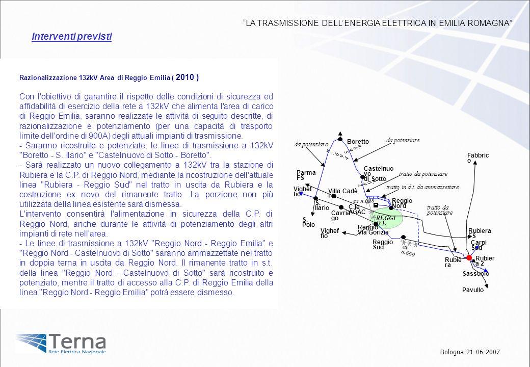 Razionalizzazione 132kV Area di Reggio Emilia ( 2010 ) Con l'obiettivo di garantire il rispetto delle condizioni di sicurezza ed affidabilità di eserc