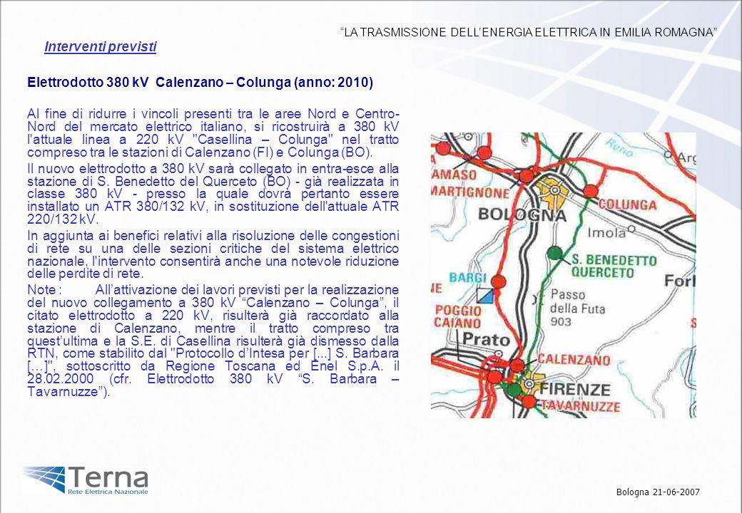 Elettrodotto 380 kV Calenzano – Colunga (anno: 2010) Al fine di ridurre i vincoli presenti tra le aree Nord e Centro- Nord del mercato elettrico itali
