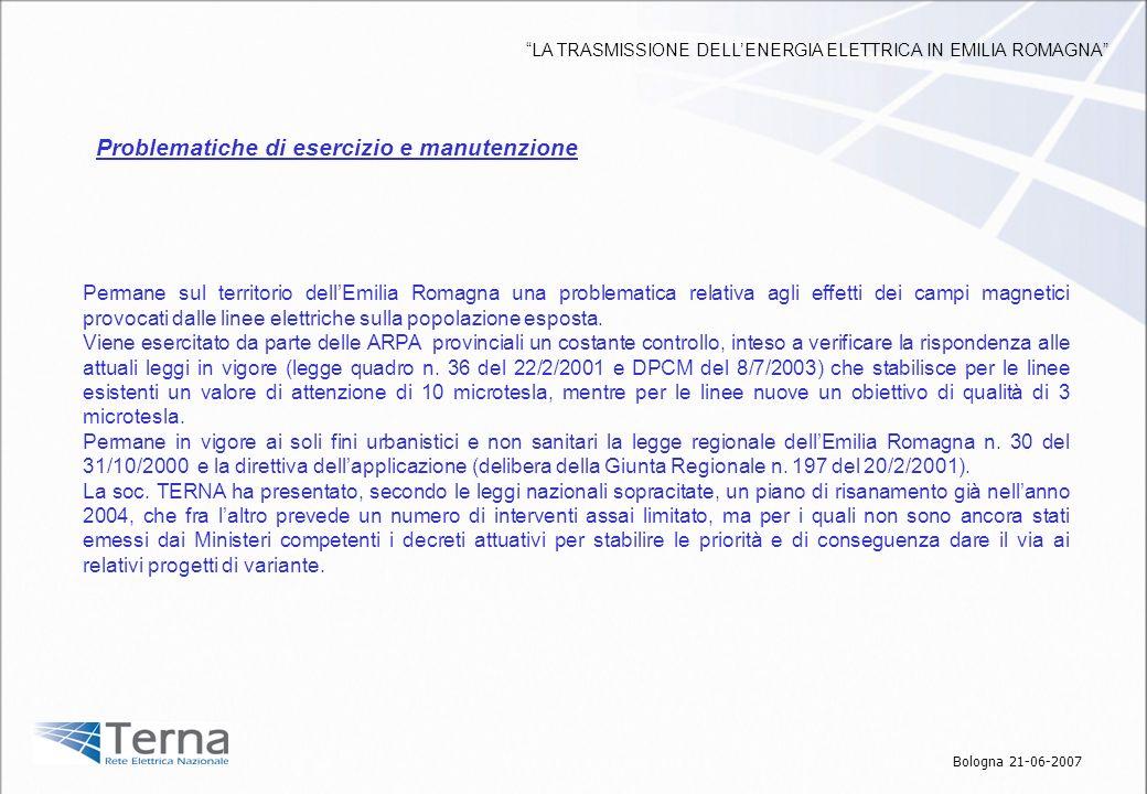 Permane sul territorio dellEmilia Romagna una problematica relativa agli effetti dei campi magnetici provocati dalle linee elettriche sulla popolazion