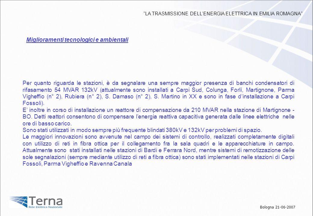 Per quanto riguarda le stazioni, è da segnalare una sempre maggior presenza di banchi condensatori di rifasamento 54 MVAR 132kV (attualmente sono inst