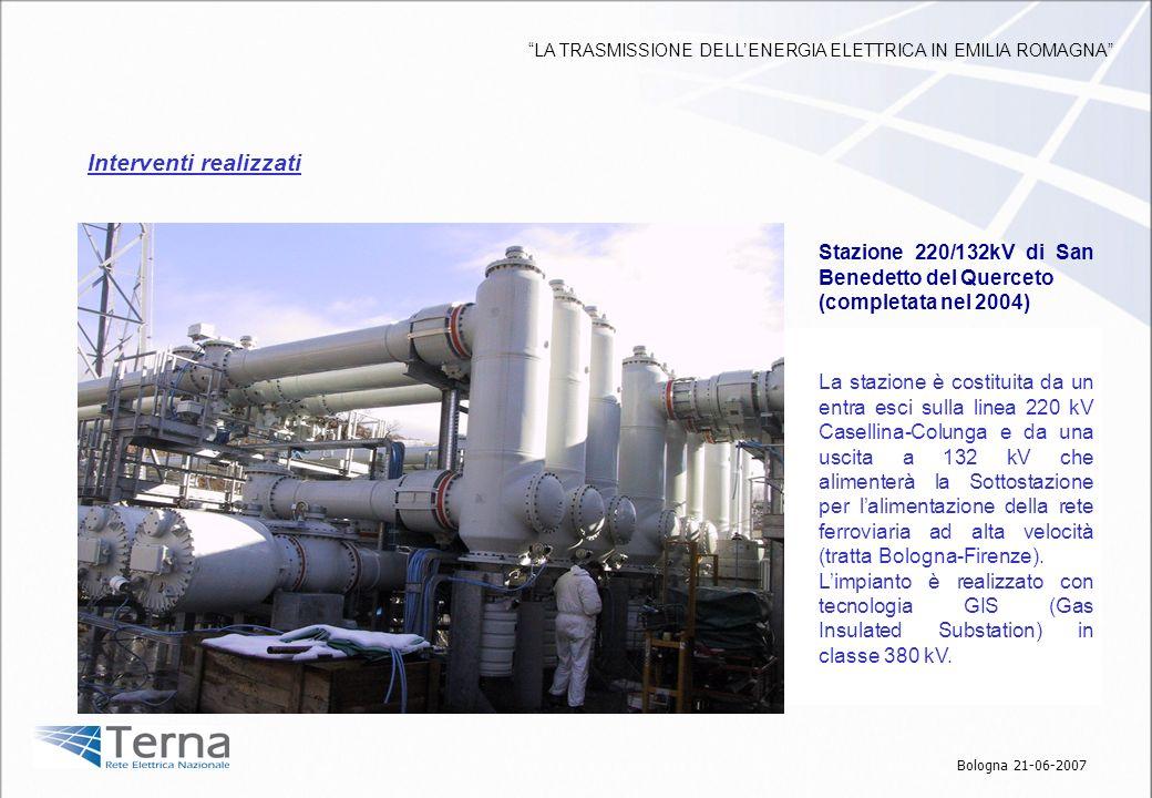 Stazione 380kV a Nord di Bologna ( 2010 ) Attualmente le trasformazioni 380/132kV che alimentano la rete elettrica a Nord di Bologna sono notevolmente impegnate e la limitata capacità di trasporto delle linee a 132kV nellarea rende tendenzialmente critico lesercizio in sicurezza della rete AT.