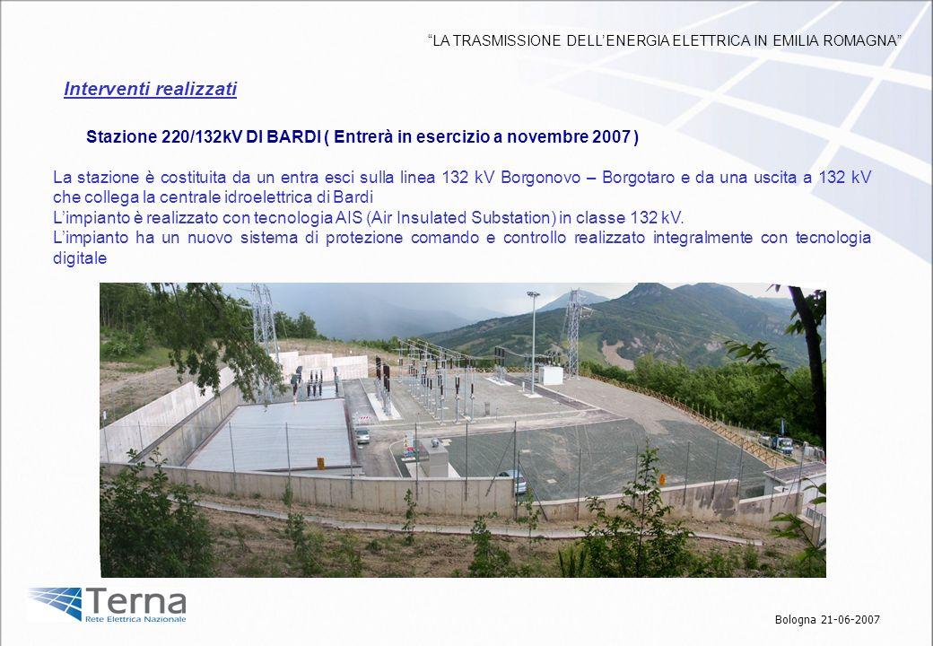 Stazione 220/132kV DI BARDI ( Entrerà in esercizio a novembre 2007 ) La stazione è costituita da un entra esci sulla linea 132 kV Borgonovo – Borgotar