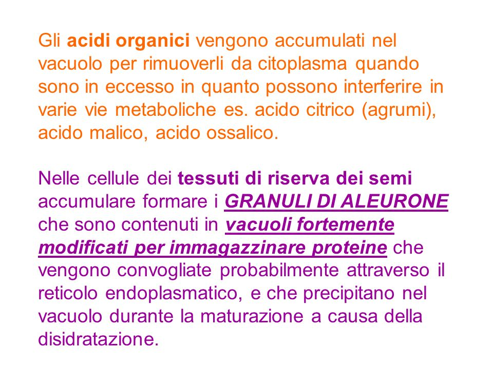 Gli acidi organici vengono accumulati nel vacuolo per rimuoverli da citoplasma quando sono in eccesso in quanto possono interferire in varie vie metab