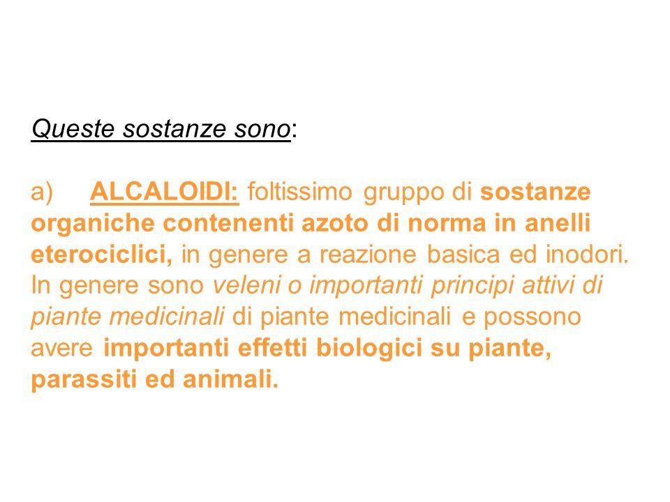 Queste sostanze sono: a) ALCALOIDI: foltissimo gruppo di sostanze organiche contenenti azoto di norma in anelli eterociclici, in genere a reazione bas