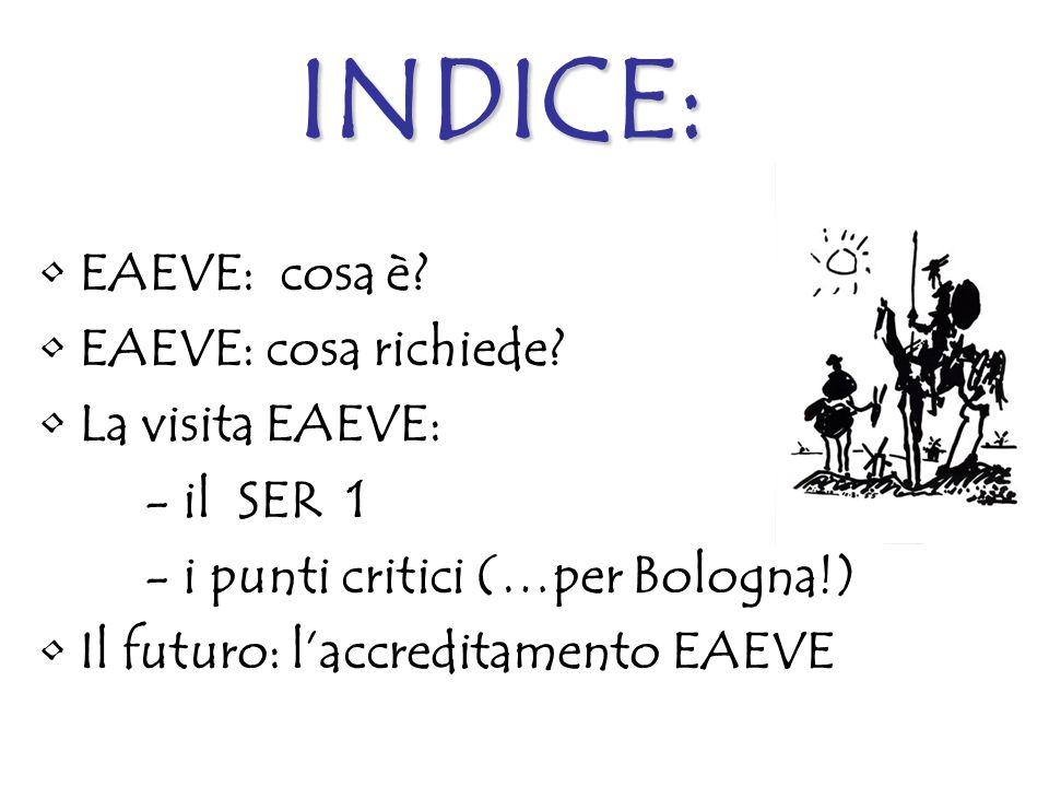 INDICE: EAEVE: cosa è? EAEVE: cosa richiede? La visita EAEVE: - il SER 1 - i punti critici (…per Bologna!) Il futuro: laccreditamento EAEVE