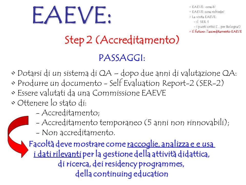 Step 2 (Accreditamento) PASSAGGI: Dotarsi di un sistema di QA – dopo due anni di valutazione QA: Produrre un documento - Self Evaluation Report-2 (SER