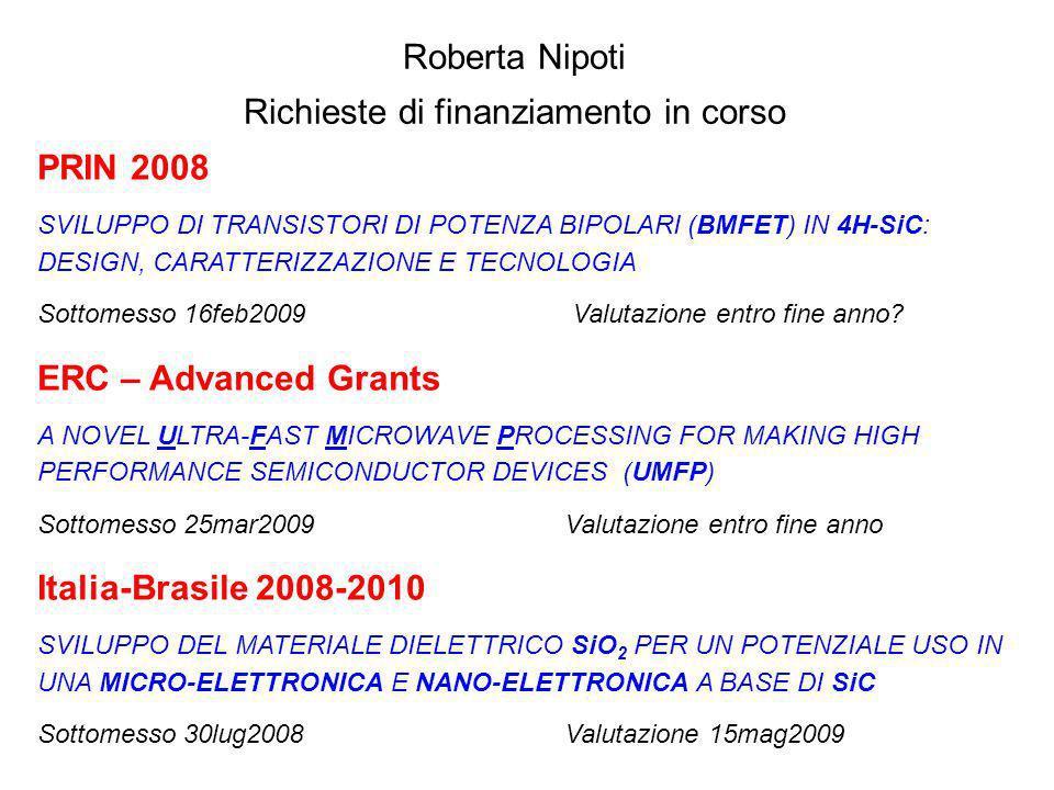 PRIN 2008 SVILUPPO DI TRANSISTORI DI POTENZA BIPOLARI (BMFET) IN 4H-SiC: DESIGN, CARATTERIZZAZIONE E TECNOLOGIA Sottomesso 16feb2009 Valutazione entro fine anno.