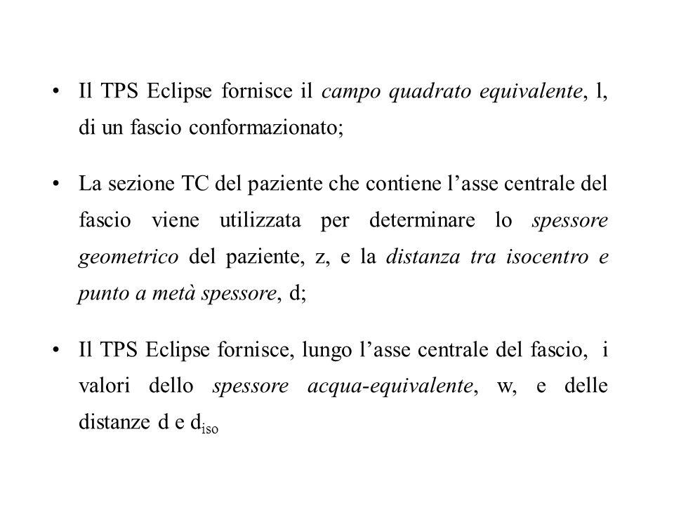 Il TPS Eclipse fornisce il campo quadrato equivalente, l, di un fascio conformazionato; La sezione TC del paziente che contiene lasse centrale del fas