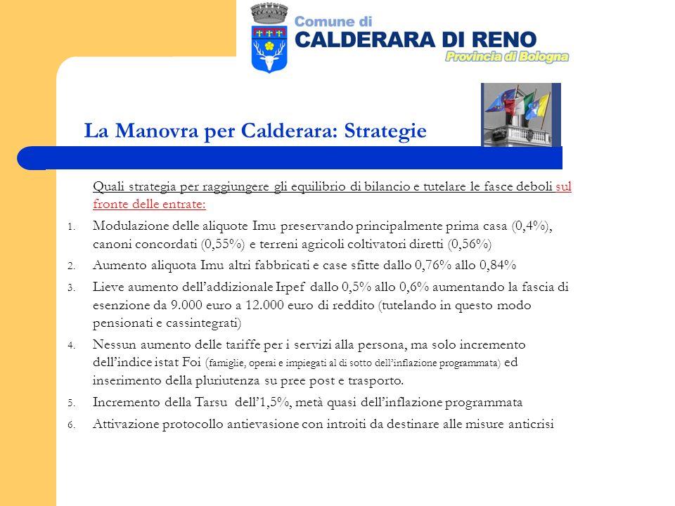 La Manovra per Calderara: Strategie Quali strategia per raggiungere gli equilibrio di bilancio e tutelare le fasce deboli sul fronte delle entrate: 1.