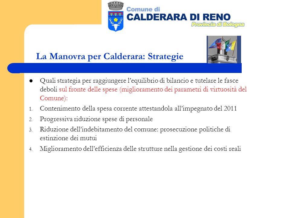 La Manovra per Calderara: Strategie Quali strategia per raggiungere lequilibrio di bilancio e tutelare le fasce deboli sul fronte delle spese (miglioramento dei parametri di virtuosità del Comune): 1.