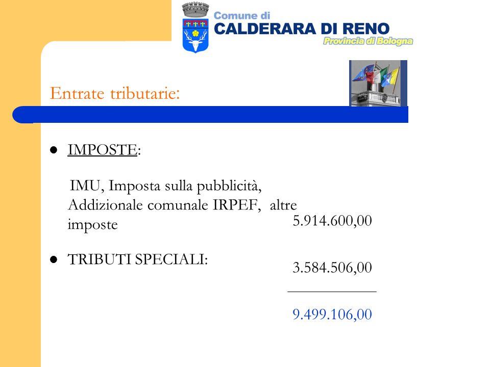 Entrate tributarie : IMPOSTE: IMU, Imposta sulla pubblicità, Addizionale comunale IRPEF, altre imposte TRIBUTI SPECIALI: 5.914.600,00 3.584.506,00 9.499.106,00