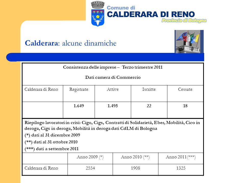 Calderara: alcune dinamiche Consistenza delle imprese – Terzo trimestre 2011 Dati camera di Commercio Calderara di RenoRegistrateAttiveIscritteCessate 1.6491.4952218 Riepilogo lavoratori in crisi: Cigo, Cigs, Contratti di Solidarietà, Eber, Mobilità, Cico in deroga, Cigs in deroga, Mobilità in deroga dati CdLM di Bologna (*) dati al 31 dicembre 2009 (**) dati al 31 ottobre 2010 (***) dati a settembre 2011 Anno 2009 (*)Anno 2010 (**)Anno 2011(***) Calderara di Reno255419081325