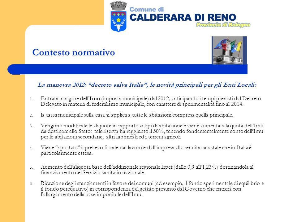 Contesto normativo La manovra 2012: decreto salva Italia, le novità principali per gli Enti Locali: 1.