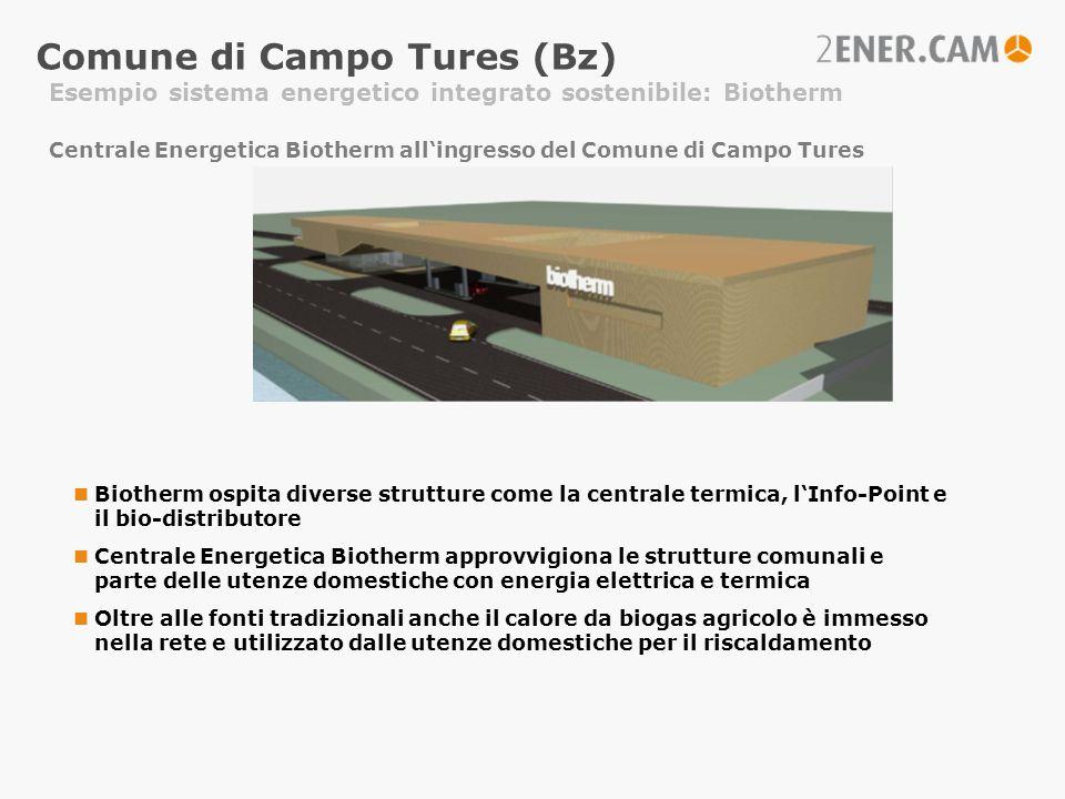 Comune di Campo Tures (Bz) Esempio sistema energetico integrato sostenibile: Biotherm Biotherm ospita diverse strutture come la centrale termica, lInf