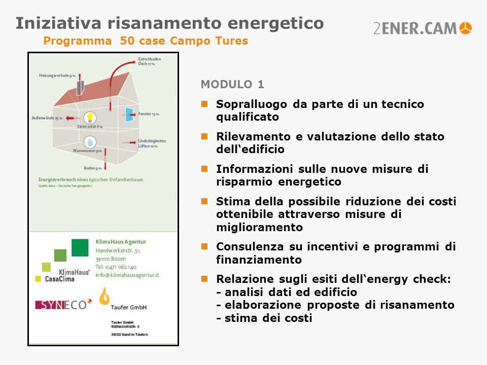 Iniziativa risanamento energetico Programma 50 case Campo Tures MODULO 1 Sopralluogo da parte di un tecnico qualificato Rilevamento e valutazione dell