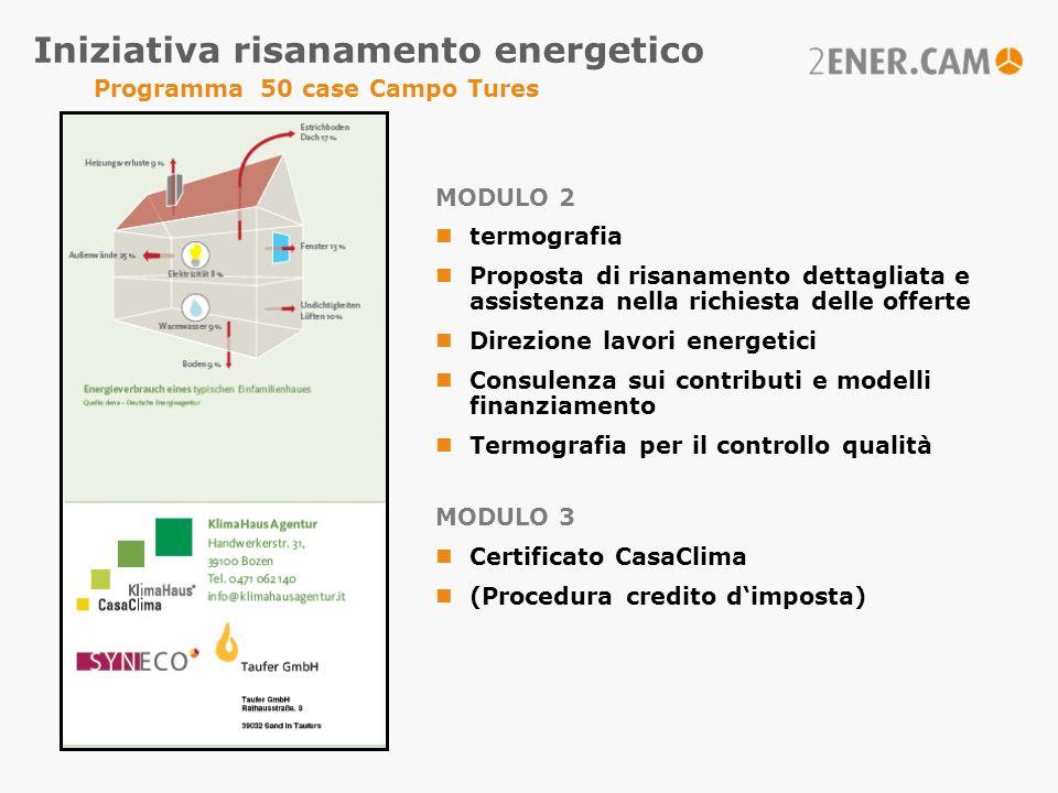 MODULO 2 termografia Proposta di risanamento dettagliata e assistenza nella richiesta delle offerte Direzione lavori energetici Consulenza sui contrib