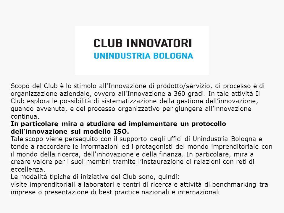 Scopo del Club è lo stimolo all'Innovazione di prodotto/servizio, di processo e di organizzazione aziendale, ovvero all'Innovazione a 360 gradi. In ta