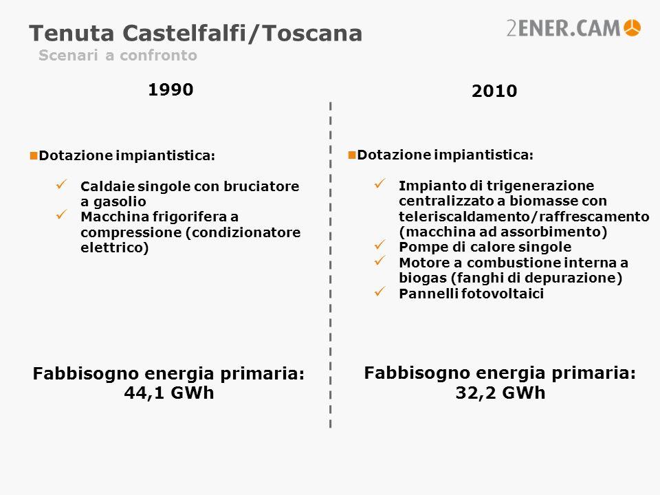 Scenari a confronto 1990 2010 Dotazione impiantistica: Caldaie singole con bruciatore a gasolio Macchina frigorifera a compressione (condizionatore el