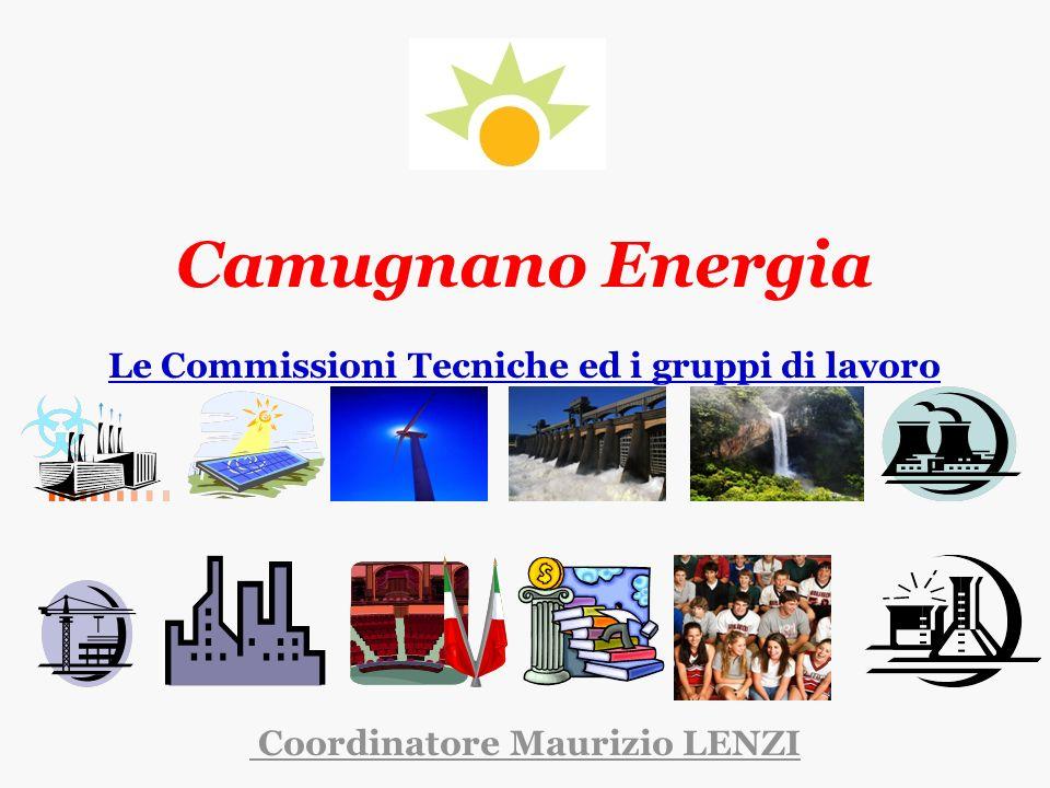 Camugnano Energia Le Commissioni Tecniche ed i gruppi di lavoro Coordinatore Maurizio LENZI