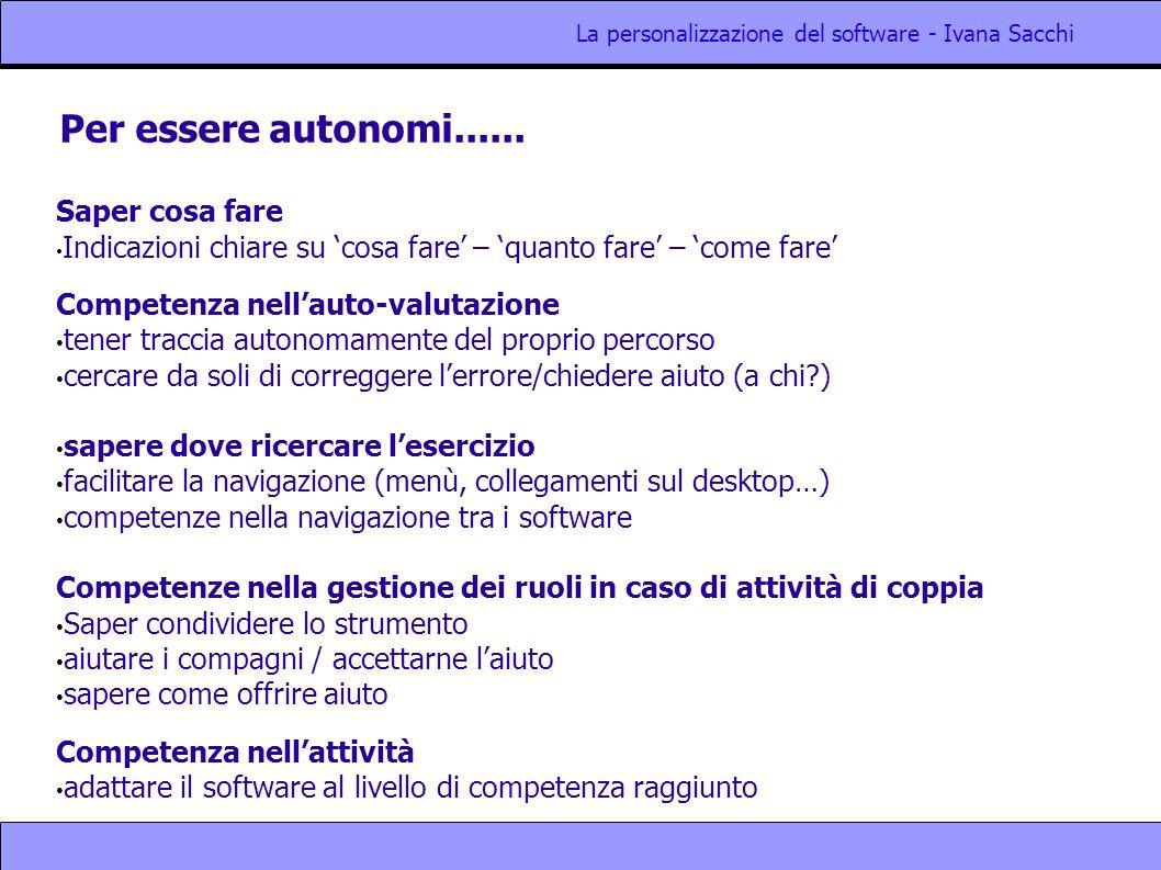 La personalizzazione del software - Ivana Sacchi Per essere autonomi...... Saper cosa fare Indicazioni chiare su cosa fare – quanto fare – come fare C