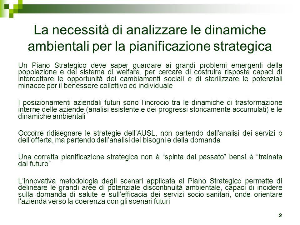 La necessità di analizzare le dinamiche ambientali per la pianificazione strategica Un Piano Strategico deve saper guardare ai grandi problemi emergen