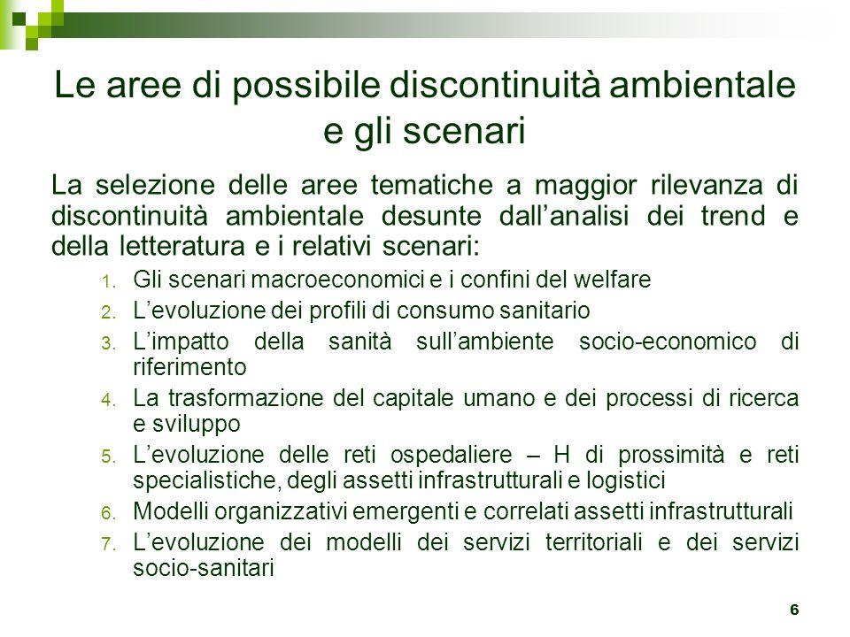 Le aree di possibile discontinuità ambientale e gli scenari La selezione delle aree tematiche a maggior rilevanza di discontinuità ambientale desunte