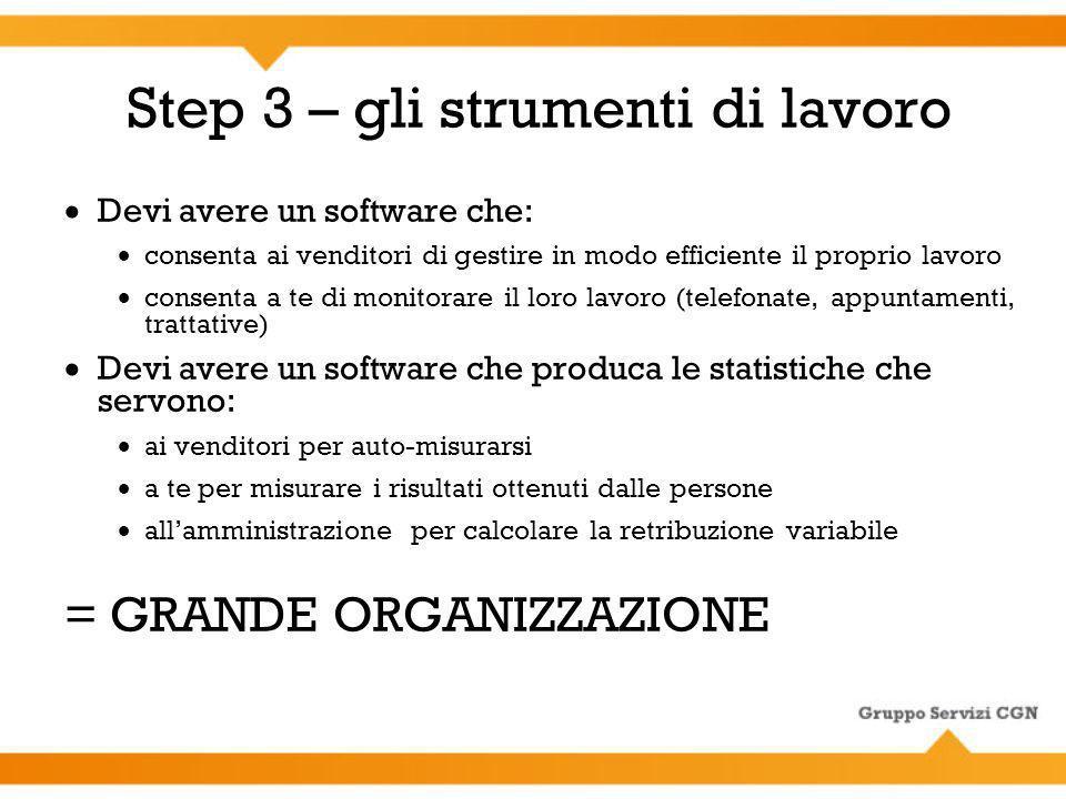 Step 3 – gli strumenti di lavoro Devi avere un software che: consenta ai venditori di gestire in modo efficiente il proprio lavoro consenta a te di mo