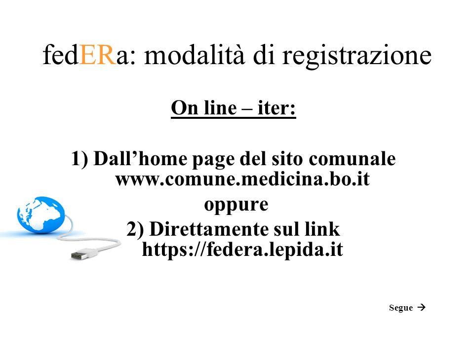 fedERa: modalità di registrazione On line – iter: 1) Dallhome page del sito comunale www.comune.medicina.bo.it oppure 2) Direttamente sul link https://federa.lepida.it Segue