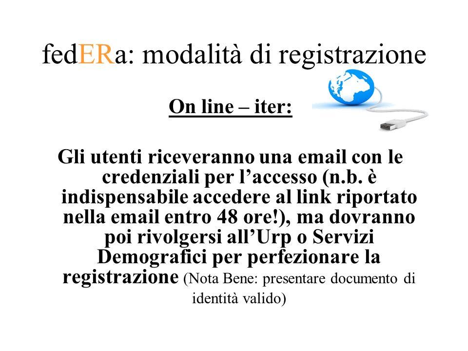 fedERa: modalità di registrazione On line – iter: Gli utenti riceveranno una email con le credenziali per laccesso (n.b. è indispensabile accedere al