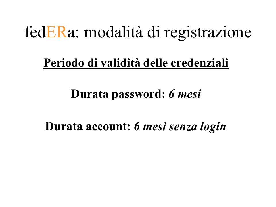 fedERa: modalità di registrazione Periodo di validità delle credenziali Durata password: 6 mesi Durata account: 6 mesi senza login