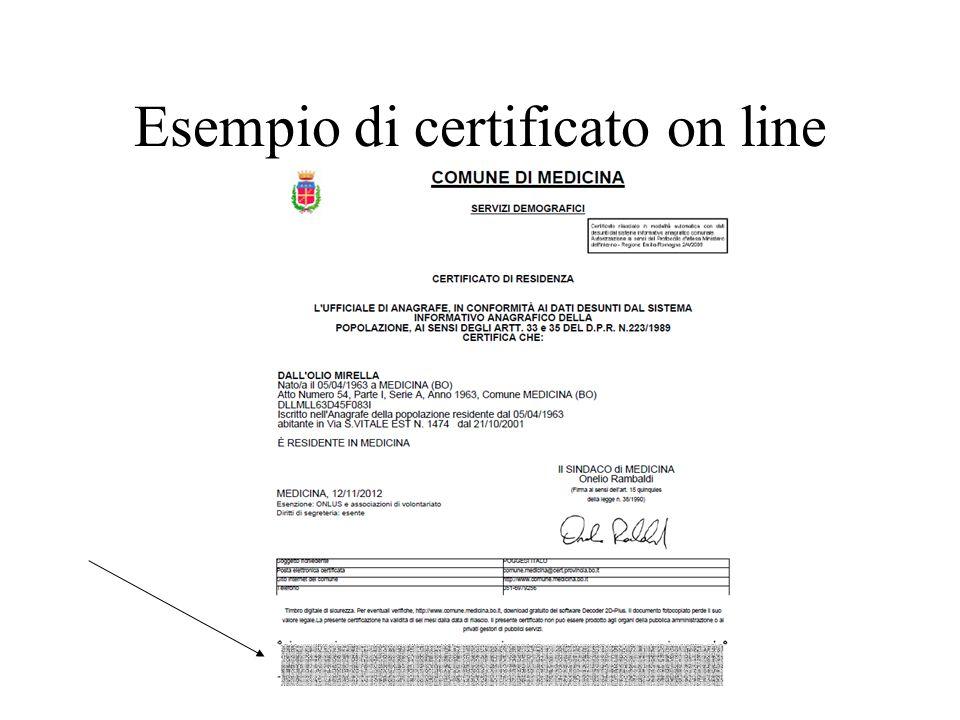 Esempio di certificato on line