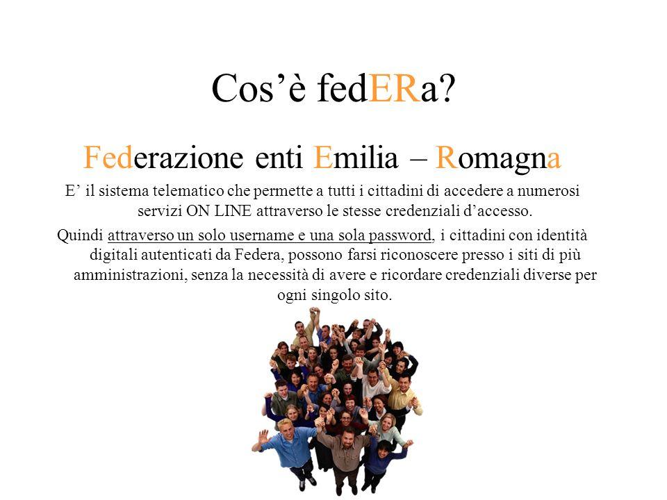 Cosè fedERa? Federazione enti Emilia – Romagna E il sistema telematico che permette a tutti i cittadini di accedere a numerosi servizi ON LINE attrave