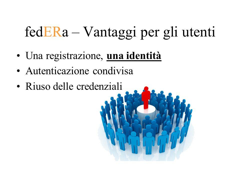 fedERa – Vantaggi per gli utenti Una registrazione, una identità Autenticazione condivisa Riuso delle credenziali